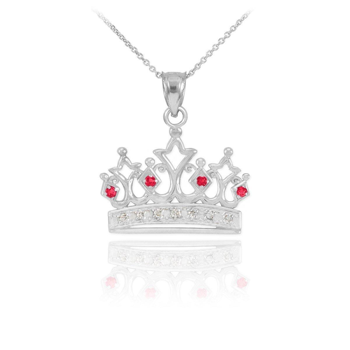 Royal 10k White Gold Ruby and Diamond Tiara Charm Crown Pendant Necklace