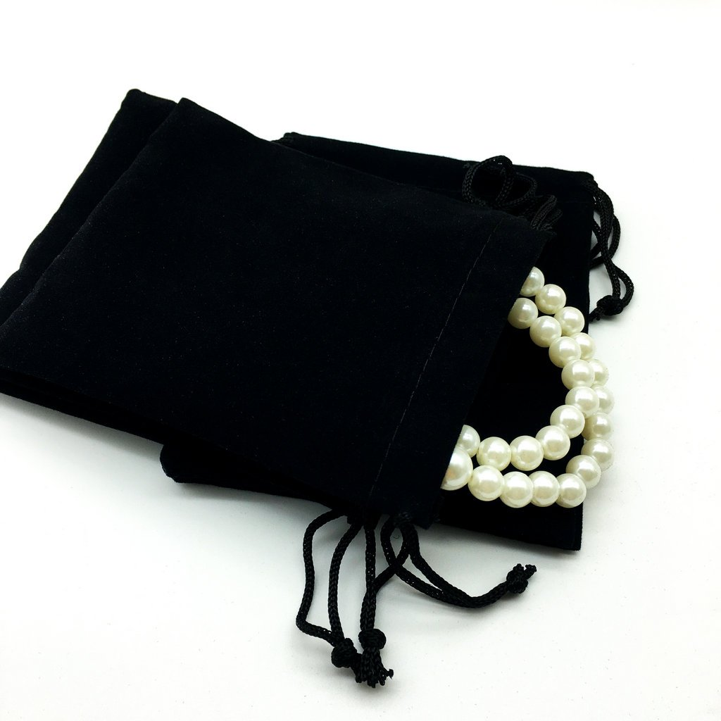dc48378900f9 Fenteer 100 Pieces Wholesale Lot Velvet Cloth Jewelry Pouches Drawstring  Gift Bags Wedding Favor