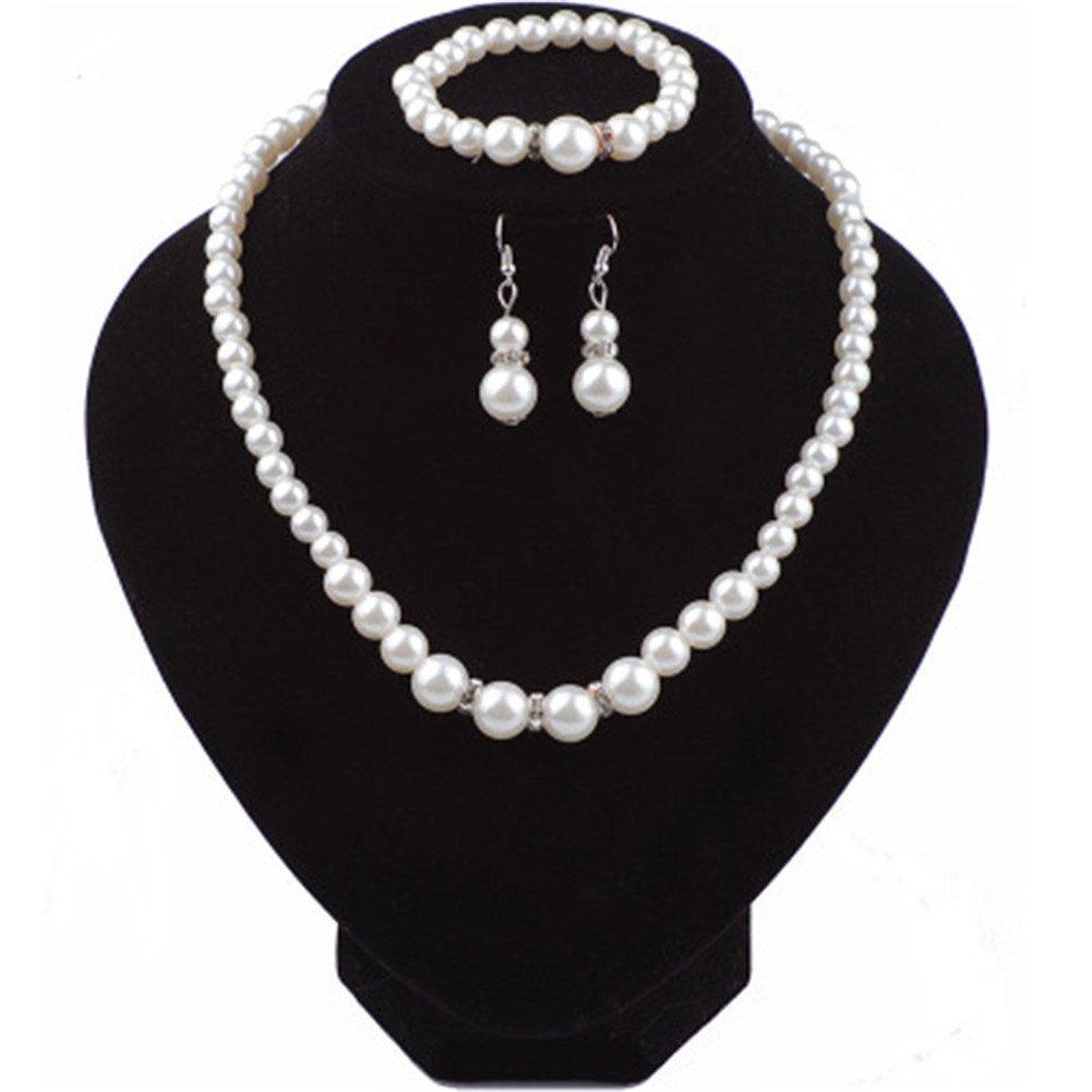 Rurah Fashion Pearl Crystal Necklace, Bracelet & Earrings Set for Women