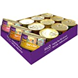 Halo Grain Free Natural Wet Cat Food, Variety Pack with Chicken, Salmon & Turkey Pate, 5.5-Ounce Can (Pack of 12)