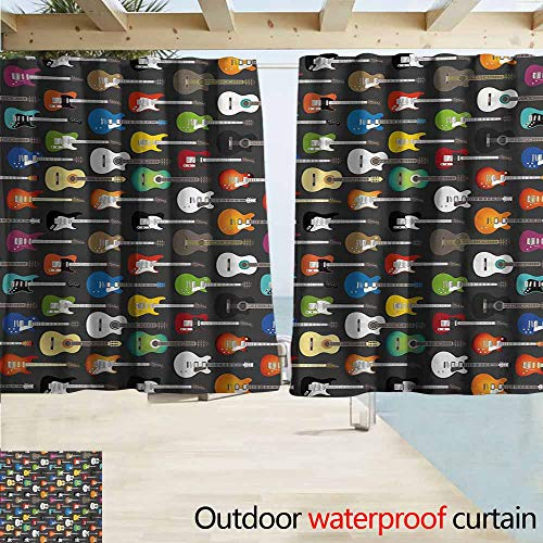 AndyTours Window Curtains,Guitar Grunge Instruments Strings Creativity Writing Songs Digital Classic Acoustic Music,Rod Pocket Energy Efficient Thermal Insulated,W63x45L Inches,Multicolor