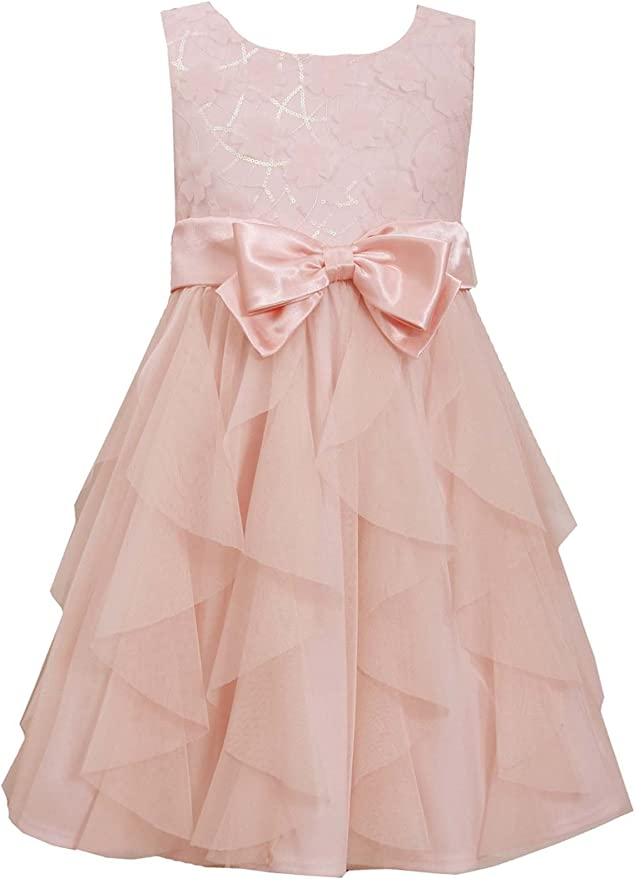 BONNIE JEAN Girl/'s Easter Birthday Wedding White Pink Dress 4 5 6 6X