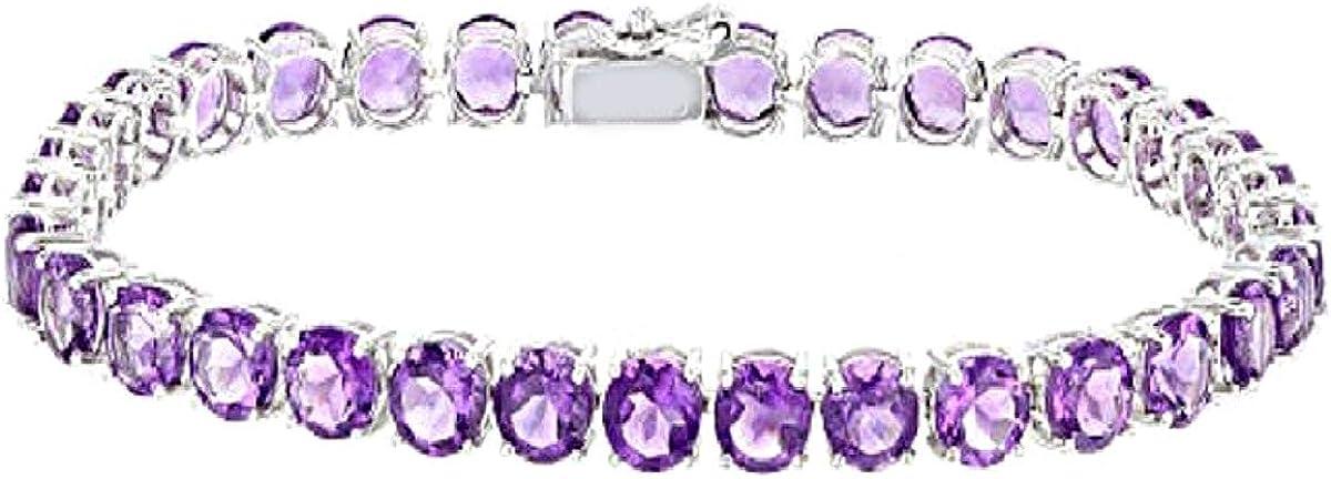 Shine Jewel 3,5 Ctw Amatista Regalo de Pulsera de Tenis Chapado en Platino de Plata de Ley 925 con Piedras Preciosas para Ella
