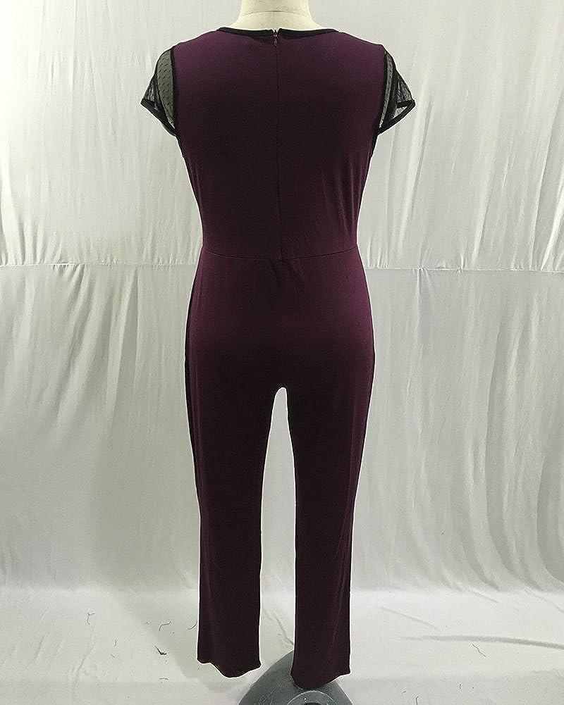 PengGeng Donna Tute Eleganti Tutine Intere Jumpsuit Lunghi Taglie Forti Manica Corta Rotondo Collo Tuta Playsuits