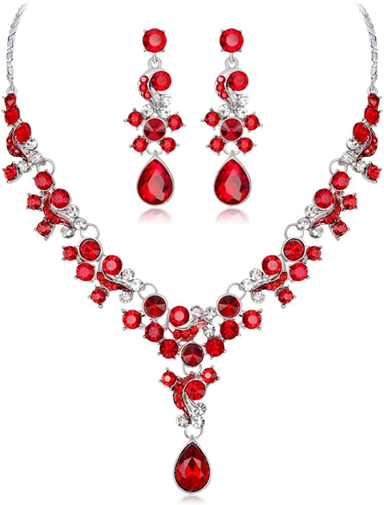 Aleación de Diamantes de Imitación Collar de Perlas Pendientes Colgantes Conjunto Regalo de Joyería de Boda por ESAILQ