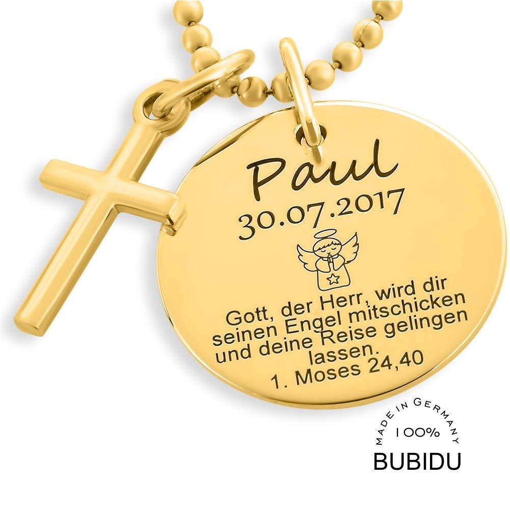 Taufkette Junge Gold Gravur Kreuz Kette Taufspruch