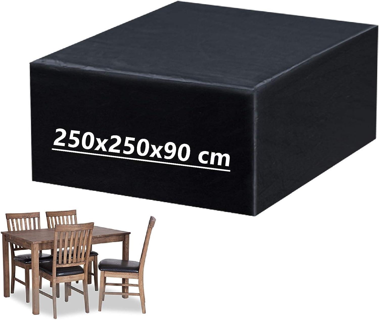 Mutsitaz Funda para Muebles de Jardín Impermeable Oxford Muebles de Jardin Cubierta, Tamaño 250 x 250 x 90 cm