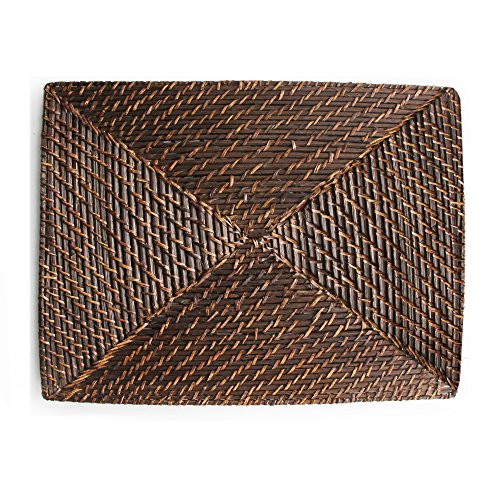 ChargeIt by Jay Bamboo/Rattan Square Placemat (Square Wicker Chargers)