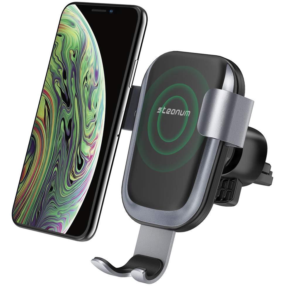 Caricatore Wireless Auto,Steanum Ricarica Rapida Wireless Auto Vento Supporto Telefono per iPhone Xs/Xr/X/8/8Plus/7,Samsung Note 5/8, Galaxy S9/S8//S7/S6 Edge+ GCC001