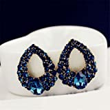 KeyZone 1 Pair Fashion Women Elegant Crystal Rhinestone Ear Stud Earrings Blue