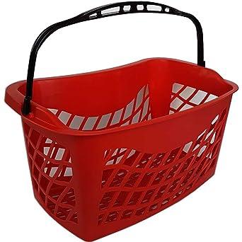 Vibrar Ganar callejón  Cesta de la compra ergonómica para tiendas, 26 litros, cesta para compra a  granel, de plástico, con 1 asa, útil para supermercados y tiendas, mm.:  520x225xh.330, rojo, 1: Amazon.es: Industria, empresas y ciencia