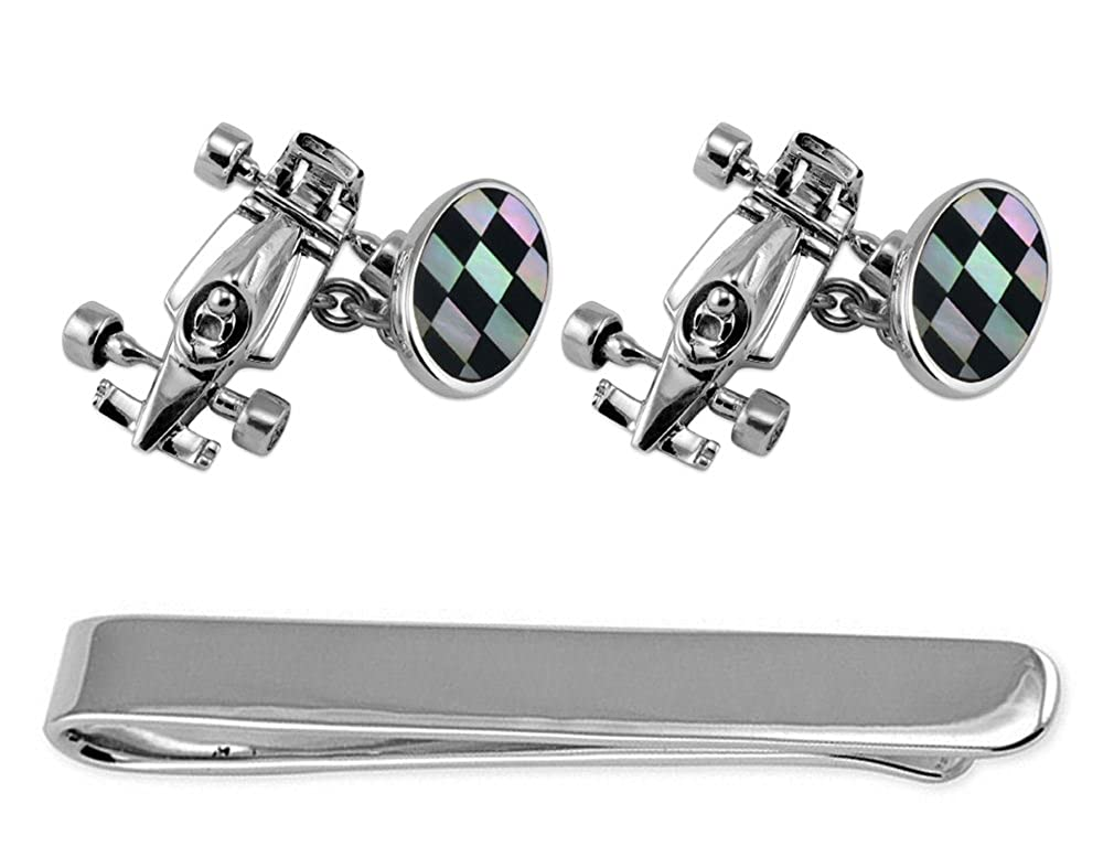 Sterling Silver Racing Car /& Flag Cufflinks Tie Clip Box Set