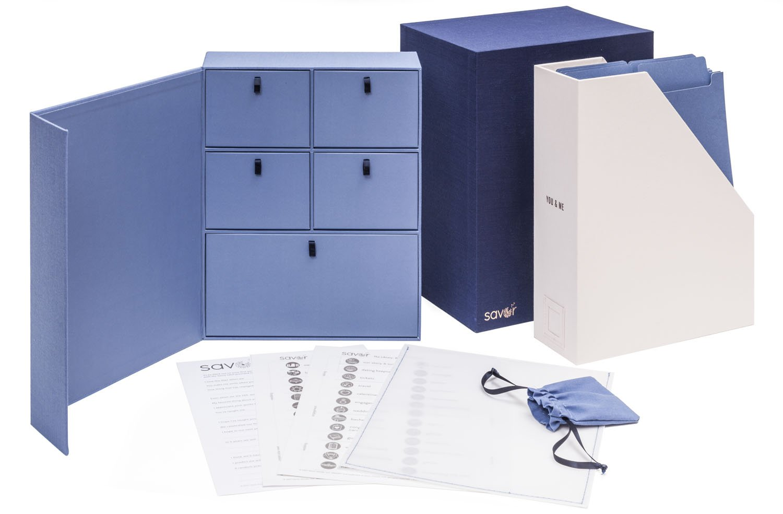 Wedding Keepsake Box-Engagement Gift-Personalized Memory Box-Registry Gift-Bridal Keepsake Organizer with Labels - Handmade-Custom-Dyed Cloth-Archival Organizer (Something Blue)