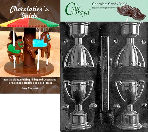 (Cybrtrayd 3D Trophy Sports Chocolate Candy Mold with Chocolatier's Guide Instructions Book Manual)