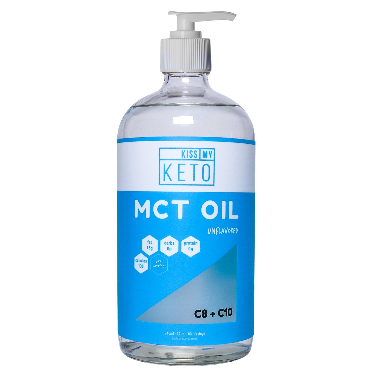 Kiss My Keto MCT Oil - Derived Only from Non-GMO Coconut Oil, 32 oz Glass Bottle w/Pump, Convert Energy Into Ketones, Caprylic Acid for Ketogenic, Paleo, Vegan Diets, Enhance Performance and Ketosis by Kiss My Keto (Image #1)
