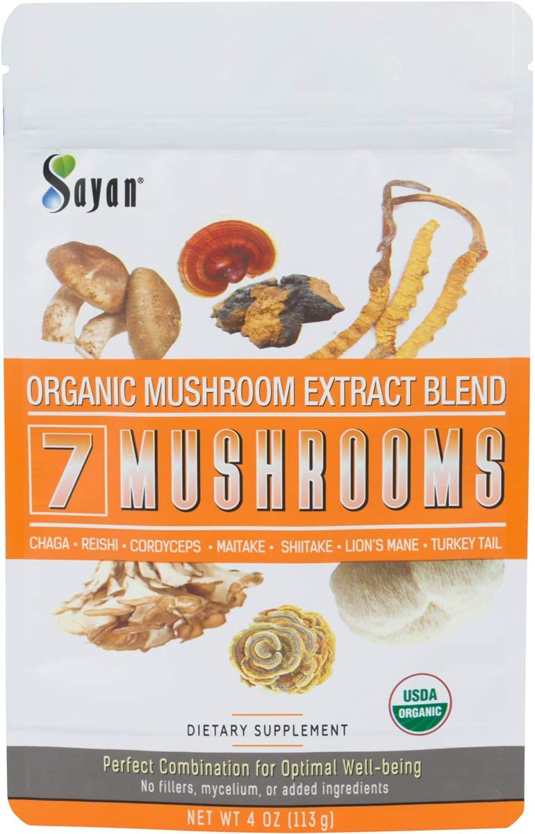 Sayan 7 Mushrooms USDA Organic Extract Powder Blend Supplement 4 oz 113g - Chaga, Reishi, Cordyceps, Maitake, Shiitake, Lion's Mane and Turkey Tail, No Fillers, Add to Coffee or Tea, Fruiting Body