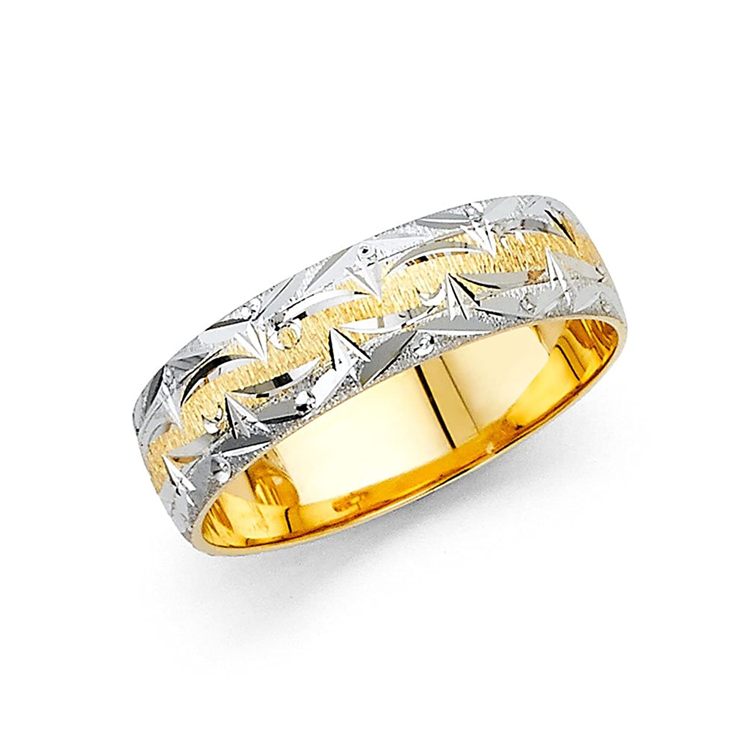 Wellingsale 14k Two 2 Tone White and Yellow Gold Polished Satin 6MM Diamond Cut Comfort Fit Wedding Band Ring