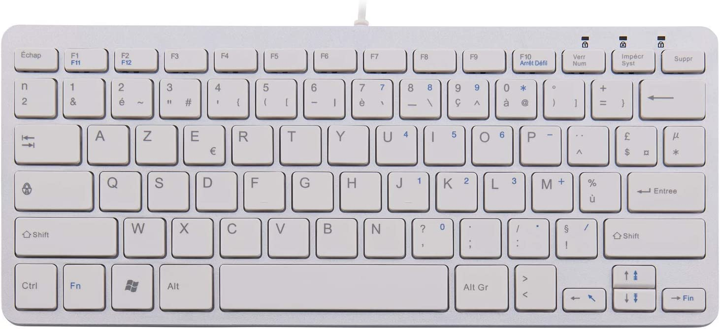 RGOECAYW Silver//White R-Go Tools Ergo Compact Keyboard AZERTY AZERTY, Silver//White