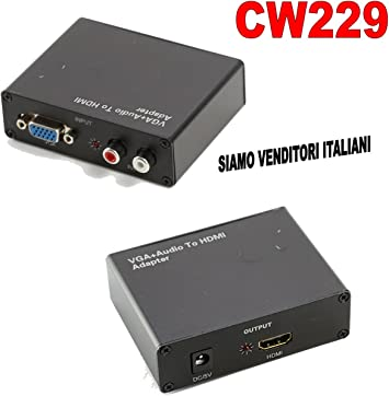 Conversor de analógica VGA + Audio R/L A HDMI TV Monitor PC Video Converter: Amazon.es: Electrónica