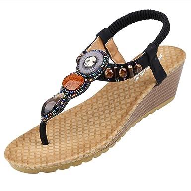 9f9875c1e9624d Zicac Women s Boho Style Round Peep Clip Toe Wedge Heel Bead Elastic  T-Strap Bohemia