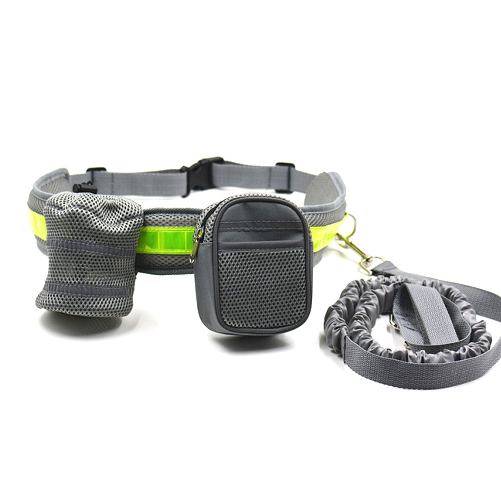 ACTLATI 4PC Walking Dog Set Dog Leash + Reflective Running Belt + Water Bottle Holder + Waist Bag Pouch for Outdoor Running Jogging Cycling