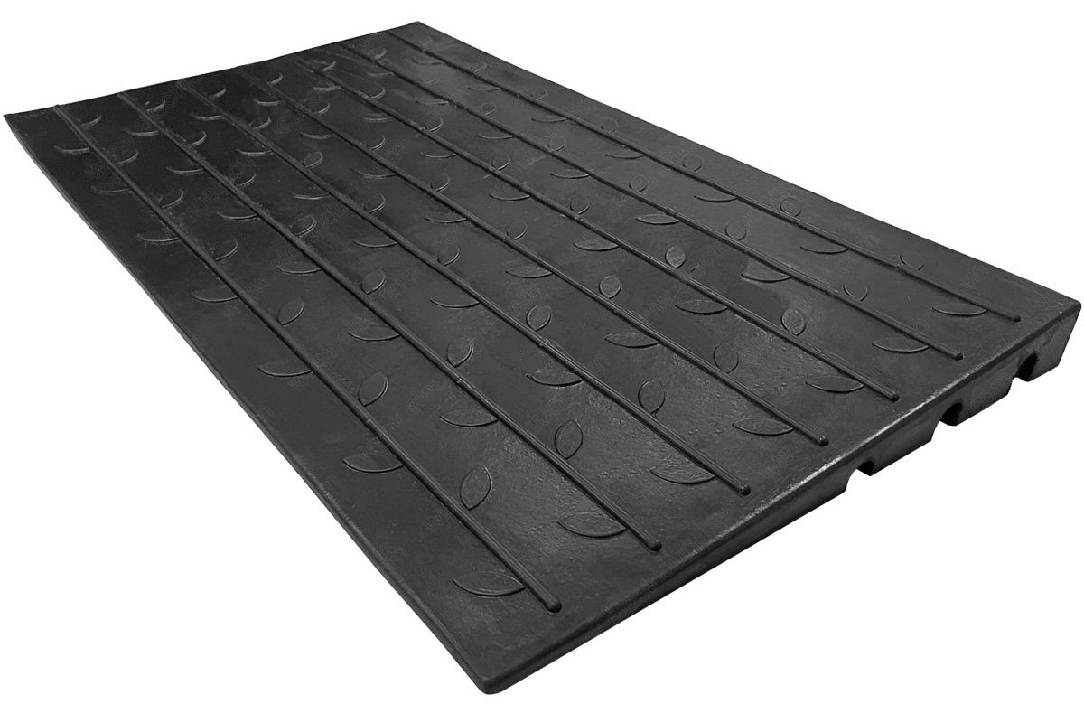2.5'' Rubber Threshold Ramp with 3 Channels Cord Cover