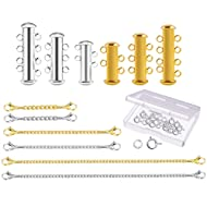 WXJ13 12 Pieces 3 Sizes Brass Magnetic Slide Tube Lock Clasps Bracelet Necklaces Connectors and Stainless Steel Chain Extenders, Gold and Silver
