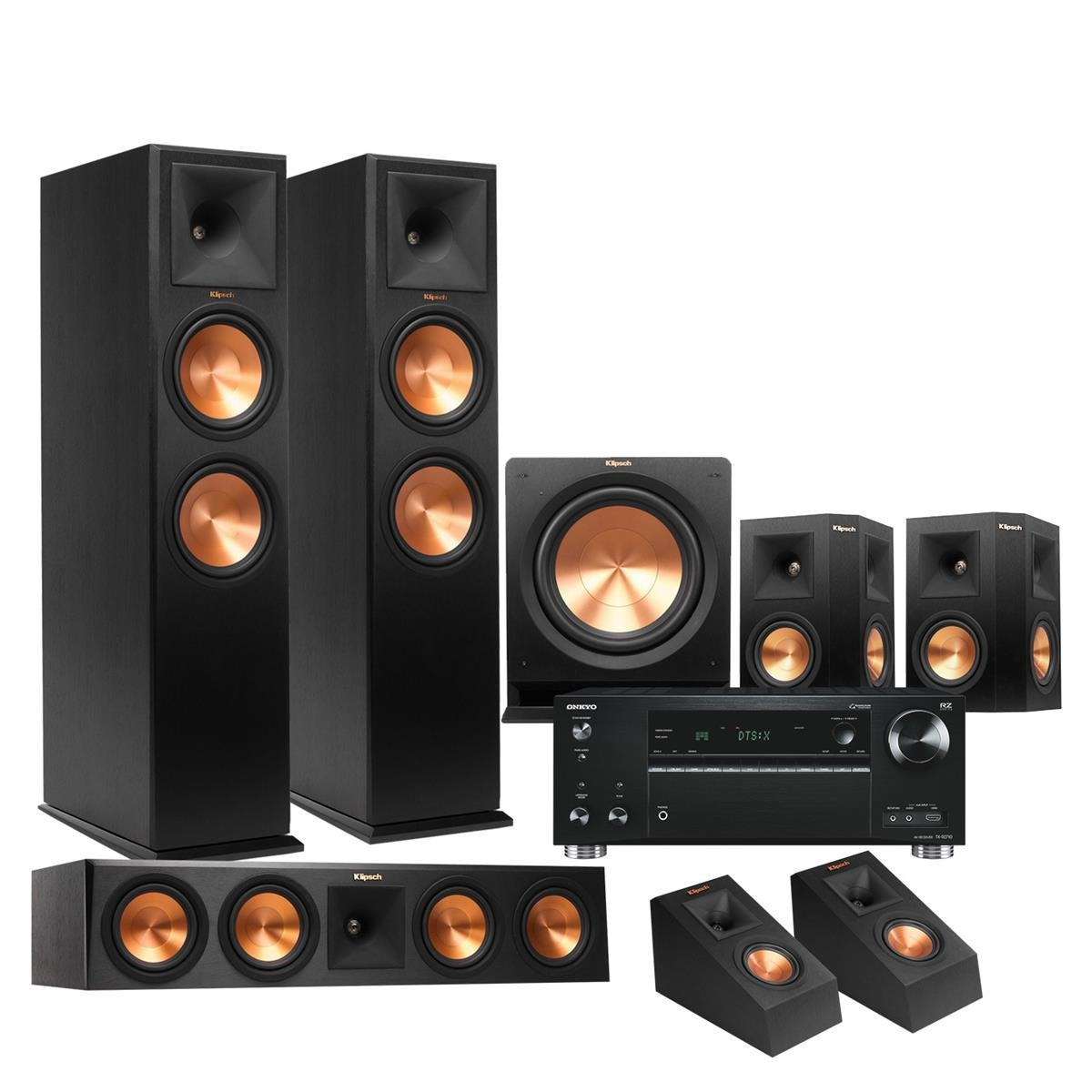 Klipsch RP-280F 5.1.2 Dolby Atmos Home Theater System with Onkyo TX-RZ710 7.2-Ch Network A/V Receiver by Klipsch