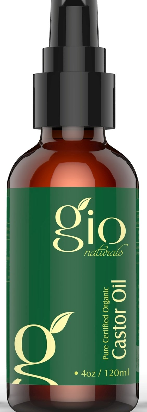 Gio Naturals Organic Cold Pressed Castor Oil, Regrowth Treatment for Hair and Skin Moisturizer, 4 Oz