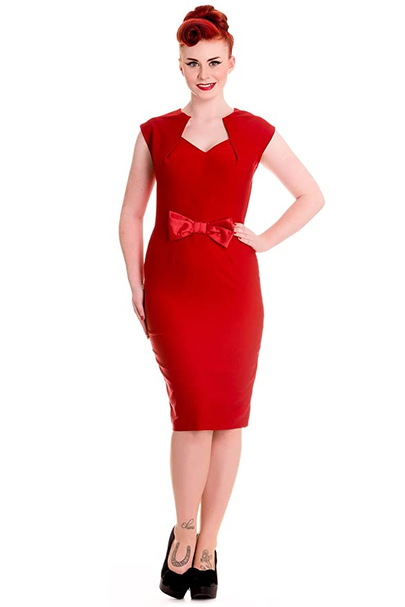 1960s Style Dresses- Retro Inspired Fashion Hell Bunny Brenda 40s 50s Wiggle Dress $26.99 AT vintagedancer.com