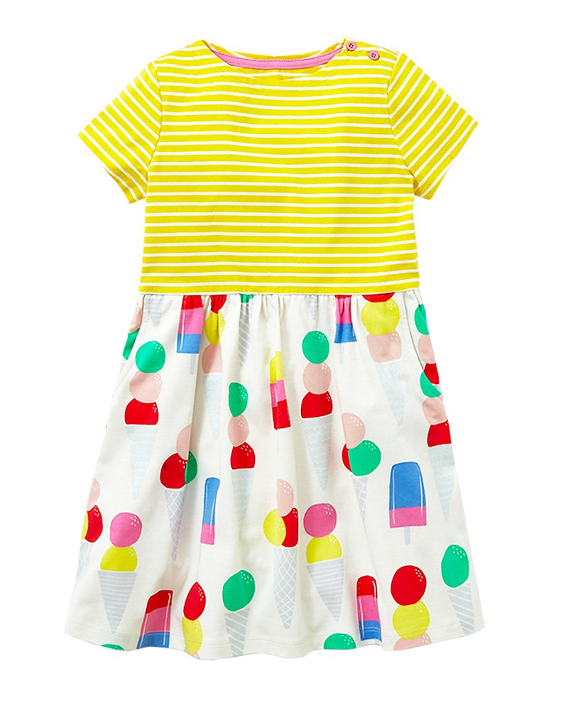 Little Girls Cotton Casual Cartoon Print Short Sleeve Skirt Dresses