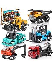 Dreamon mini bouwvoertuigen speelgoed auto, kinderen lichtmetalen graafmachine auto's set, kleurrijke kleine gift voor kinderen 3+ jaar