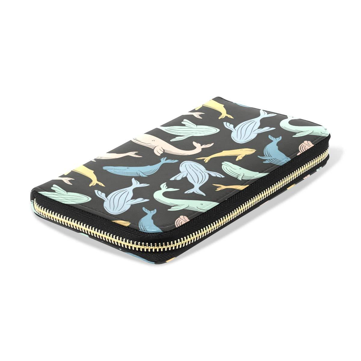Women Sharks Whales Art Leather Wallet Large Capacity Zipper Travel Wristlet Bags Clutch Cellphone Bag