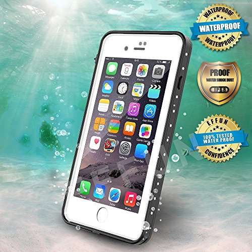 (EFFUN iPhone 8/iPhone 7 Waterproof Case, Dottie Style IP68 Certified Underwater Cover Waterproof Shockproof Dustproof Dirtproof Snowproof Full Sealed iPhone Case (4.7 inch) White)
