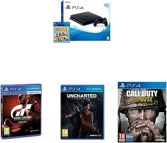 PlayStation 4 (PS4) - Consola De 500 GB, Color Negro + Voucher ¡Has Sido Tú! + Call Of Duty WWII + Gran Turismo Sport + Uncharted: El Legado Perdido: Amazon.es: Videojuegos
