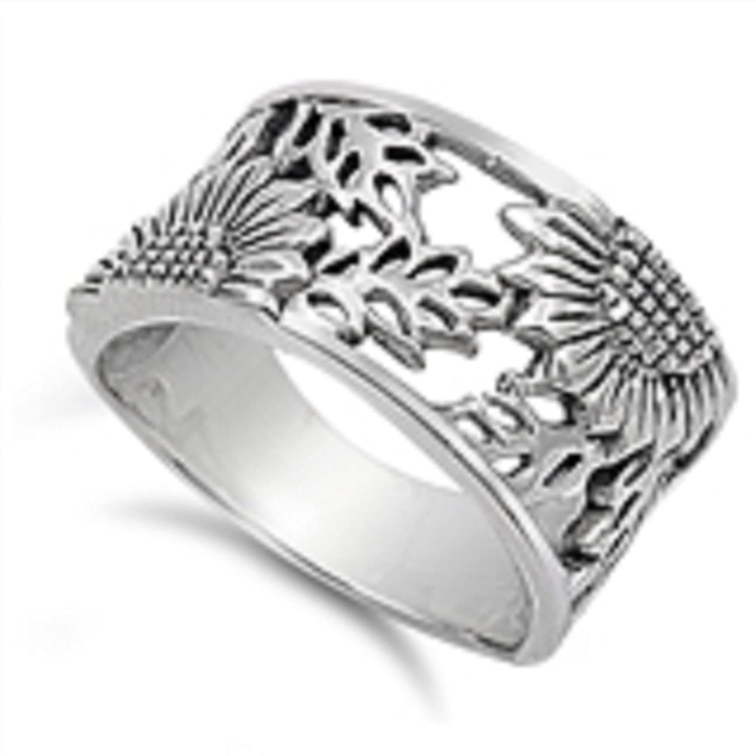 925 Sterling Silver Tracery Sunflower Ring