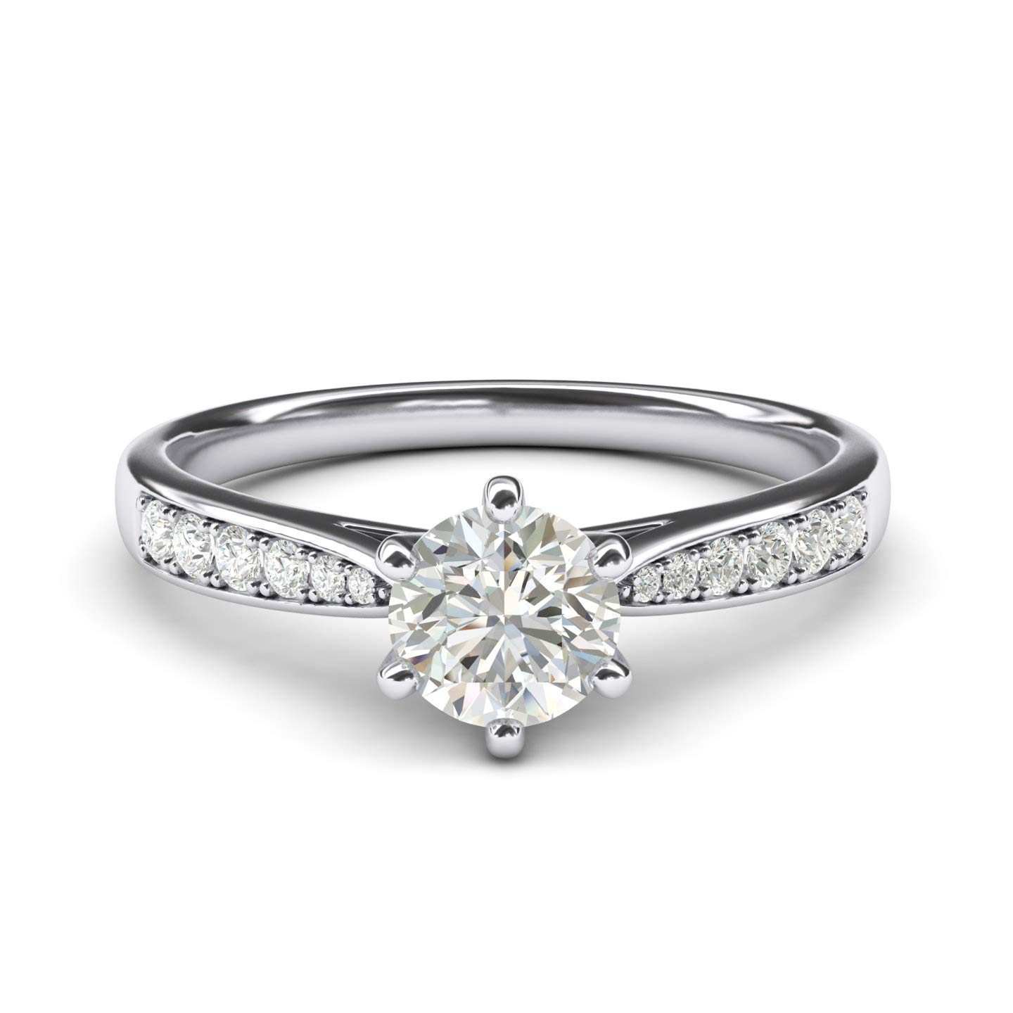 10k white gold 1.0 CT Classic 6-Prong Simulated Diamond Engagement Ring Graduated Side Stones Promise Bridal Ring (5)