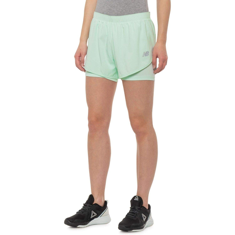 New Balance Women's 3'' 2-in-1 Woven Short, Water Vapor, Medium by New Balance