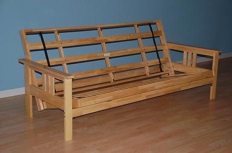 monterey futon frame in natural finish amazon    monterey futon frame in natural finish  kitchen  u0026 dining  rh   amazon