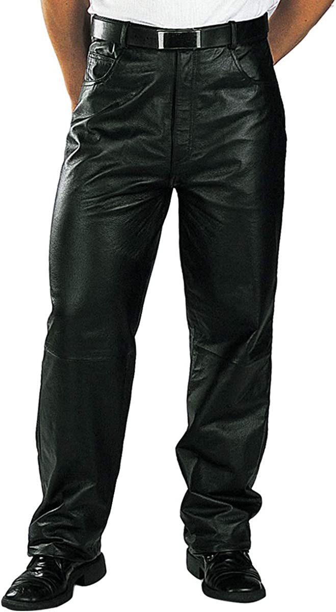 80s Mens Jeans, Pants, Parachute, Tracksuits Xelement 860 Mens Classic Black Loose Fit Leather Pants $69.95 AT vintagedancer.com