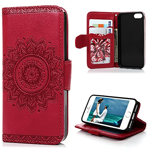MOLLYCOOCLE iPhone SE & 5 & 5S Case, Stand Wallet Premium PU Leather Skin Cover Magnetic Flip Folio TPU Cushion Bumper Embossed Flower Design for iPhone SE & 5 & 5S & Bling Butterfly Dust Plug,Red
