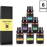 Juego de 6 Botellas de Aceite Esencial 100% Natural para Aromatizar via Difusor o Uso Directo (Kit de Esencias)
