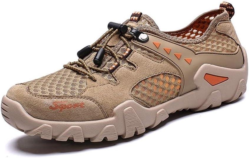 YWSCXMYLDL-JP 夏のアウトドアシューズ男性ビッグサイズ39-48軽量通気性メッシュクリーク川クイックドライウェーディングアップストリームフィッシングネットクリークシューズ (Color : 褐色, Shoe Size : 11) 褐色