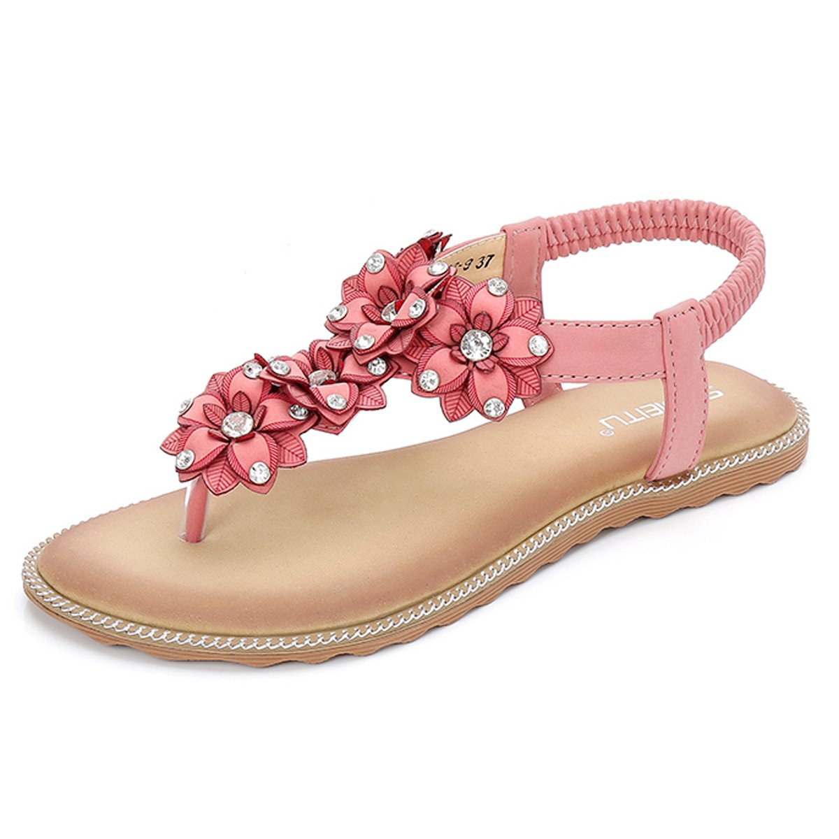 gracosy Damen Sandalen, Flip Flops Sommer Sandals Flach Zehentrenner T-Strap Offen Bouml;hmische Strand Schuhe  39 EU|Pink