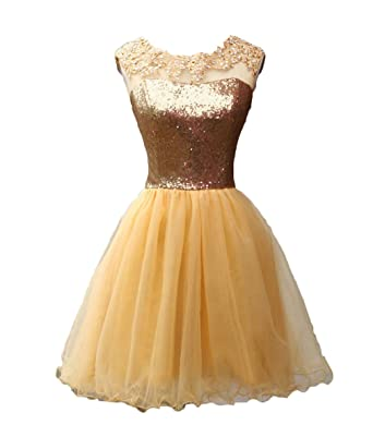 olise bridal Womens Sexy Illusion Gold Sequins Short Homecoming Prom Dresses Appliques Beaded Party Gowns
