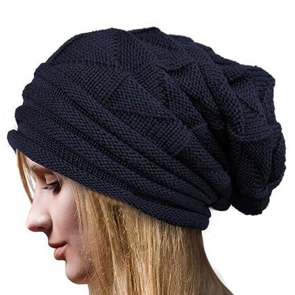 4f67e862c3d Fashion Oversize Skull Slouch Beanie Large Skullcap Knit Hat for Women Men  (Navy