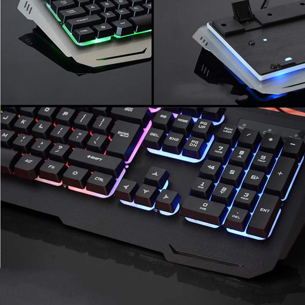 LOLOP Gaming Keyboard Suspension Key Cap Mechanical Hand Glowing Wired Game Keyboard and Mouse Set,White