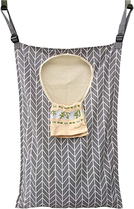 Amlrt Adjustable Door-Hanging Laundry Hamper with Stainless Steel Hooks