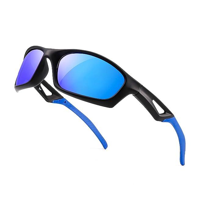 Polarizadas Deporte Gafas de Sol Hombre Mujer Béisbol Pescar Correr Golf Ciclismo Conducir Sombras(Azul