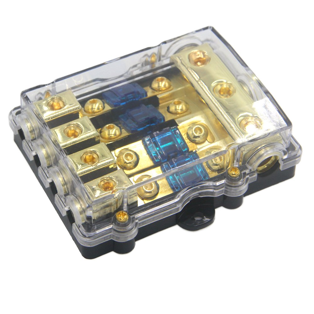 ZOOKOTO Power Distribution Block (4 - way), 6/8 AWG Gauge AGU Fuse Holder Distribution Block 2/4 Gauge In to (6) 8 Gauge Out with 60A MANL Fuses
